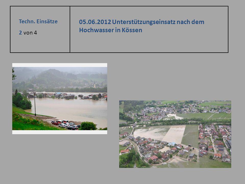 Techn. Einsätze 2 von 4 05.06.2012 Unterstützungseinsatz nach dem Hochwasser in Kössen