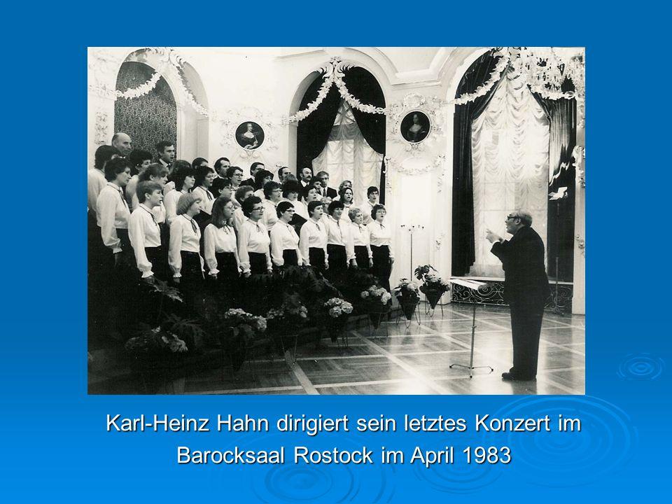 Karl-Heinz Hahn dirigiert sein letztes Konzert im Barocksaal Rostock im April 1983