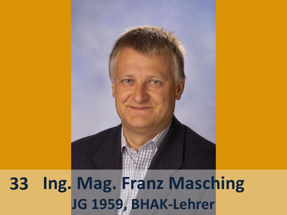 Ing. Mag. Franz Masching JG 1959, BHAK-Lehrer 33