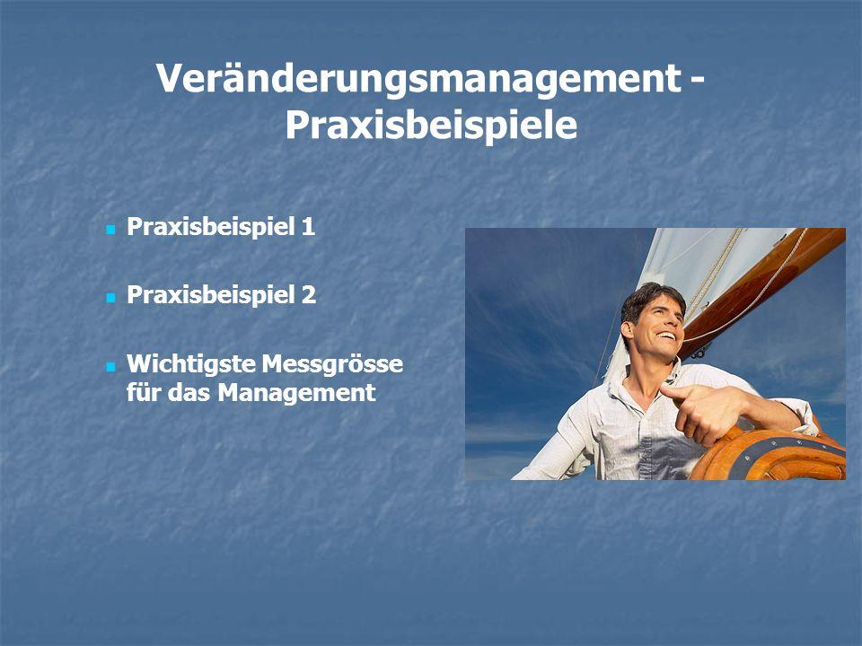 Veränderungsmanagement - Praxisbeispiele Praxisbeispiel 1 Praxisbeispiel 2 Wichtigste Messgrösse für das Management