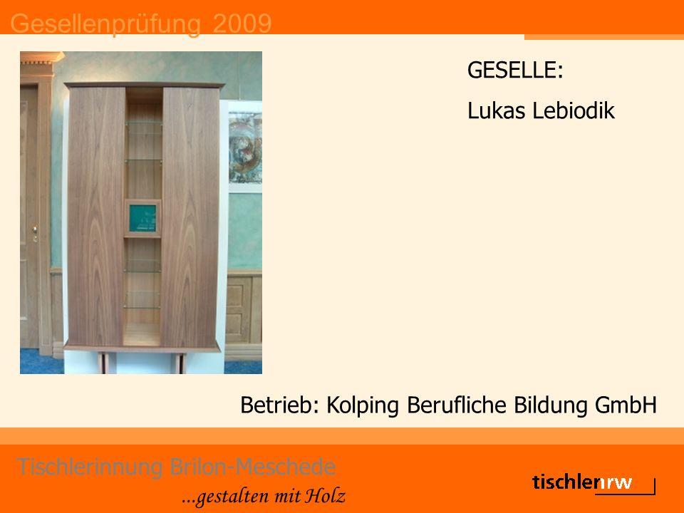 Gesellenprüfung 2009 Tischlerinnung Brilon-Meschede...gestalten mit Holz Betrieb: Kolping Berufliche Bildung GmbH GESELLE: Lukas Lebiodik