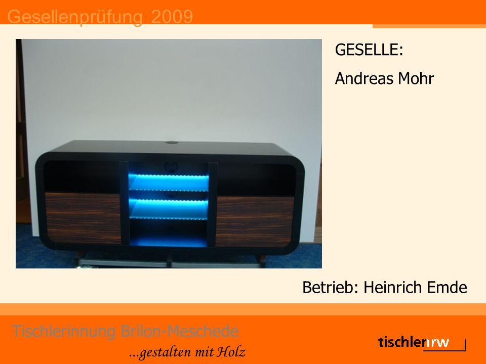 Gesellenprüfung 2009 Tischlerinnung Brilon-Meschede...gestalten mit Holz Betrieb: Heinrich Emde GESELLE: Andreas Mohr
