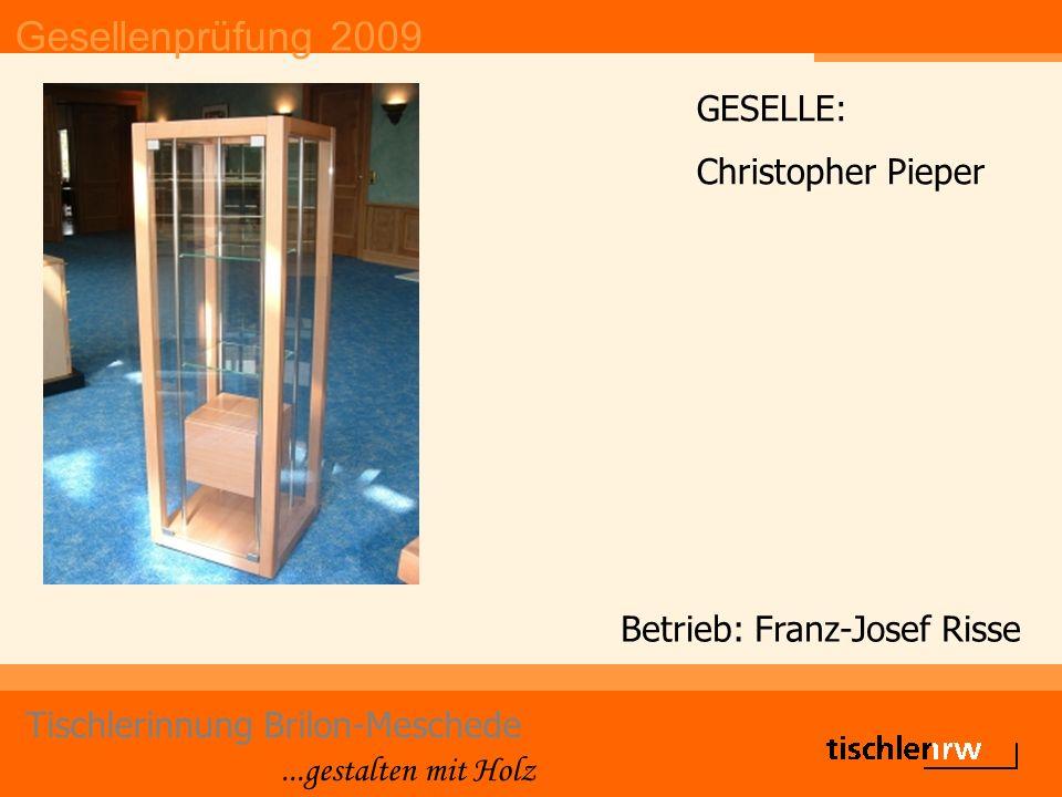Gesellenprüfung 2009 Tischlerinnung Brilon-Meschede...gestalten mit Holz Betrieb: Franz-Josef Risse GESELLE: Christopher Pieper