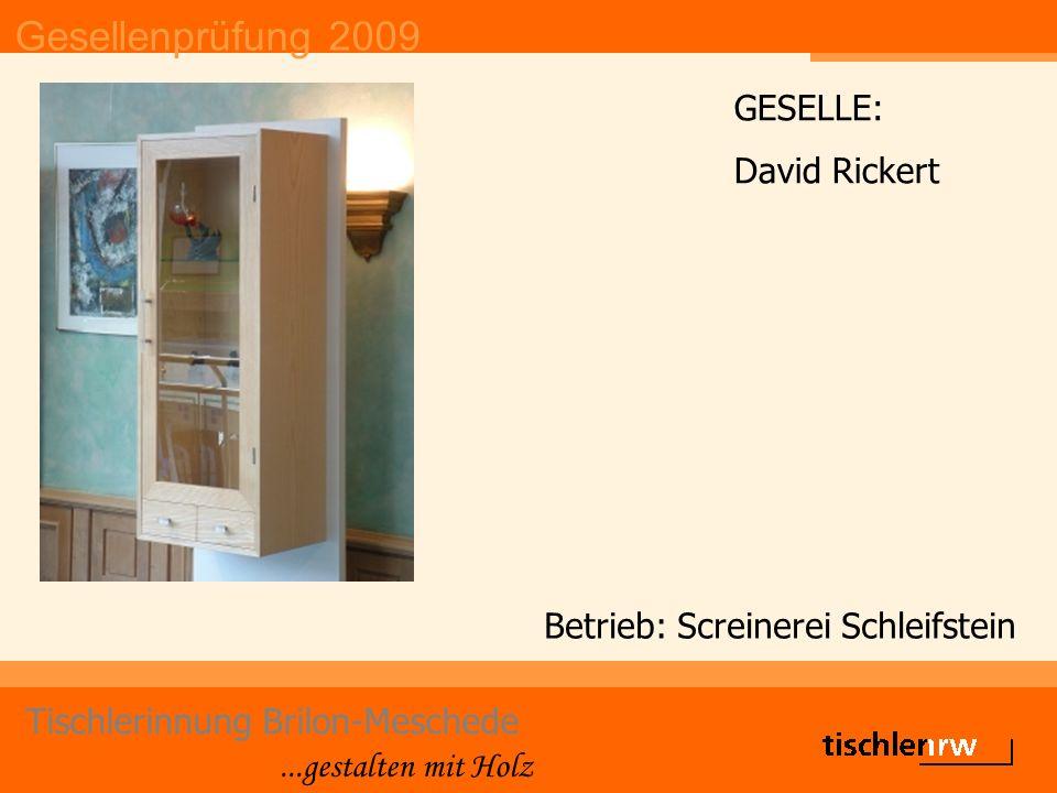 Gesellenprüfung 2009 Tischlerinnung Brilon-Meschede...gestalten mit Holz Betrieb: Screinerei Schleifstein GESELLE: David Rickert