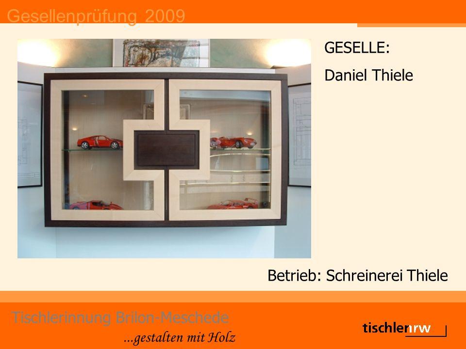 Gesellenprüfung 2009 Tischlerinnung Brilon-Meschede...gestalten mit Holz Betrieb: Schreinerei Thiele GESELLE: Daniel Thiele