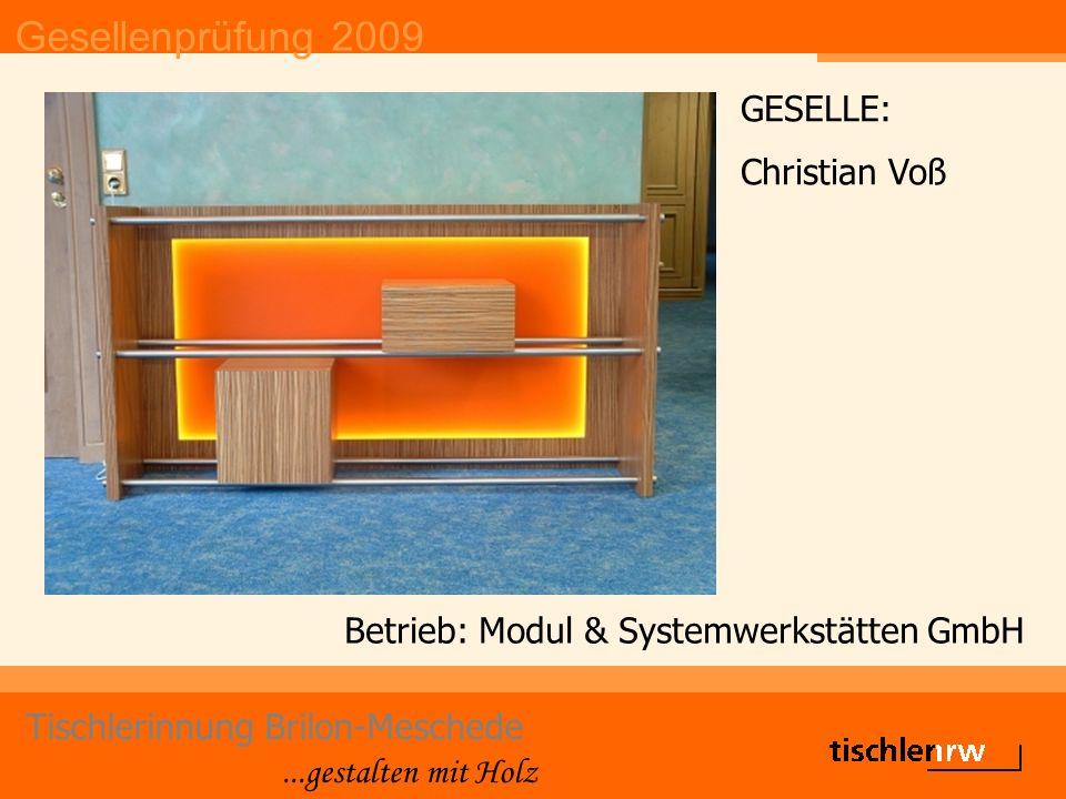 Gesellenprüfung 2009 Tischlerinnung Brilon-Meschede...gestalten mit Holz Betrieb: Modul & Systemwerkstätten GmbH GESELLE: Christian Voß