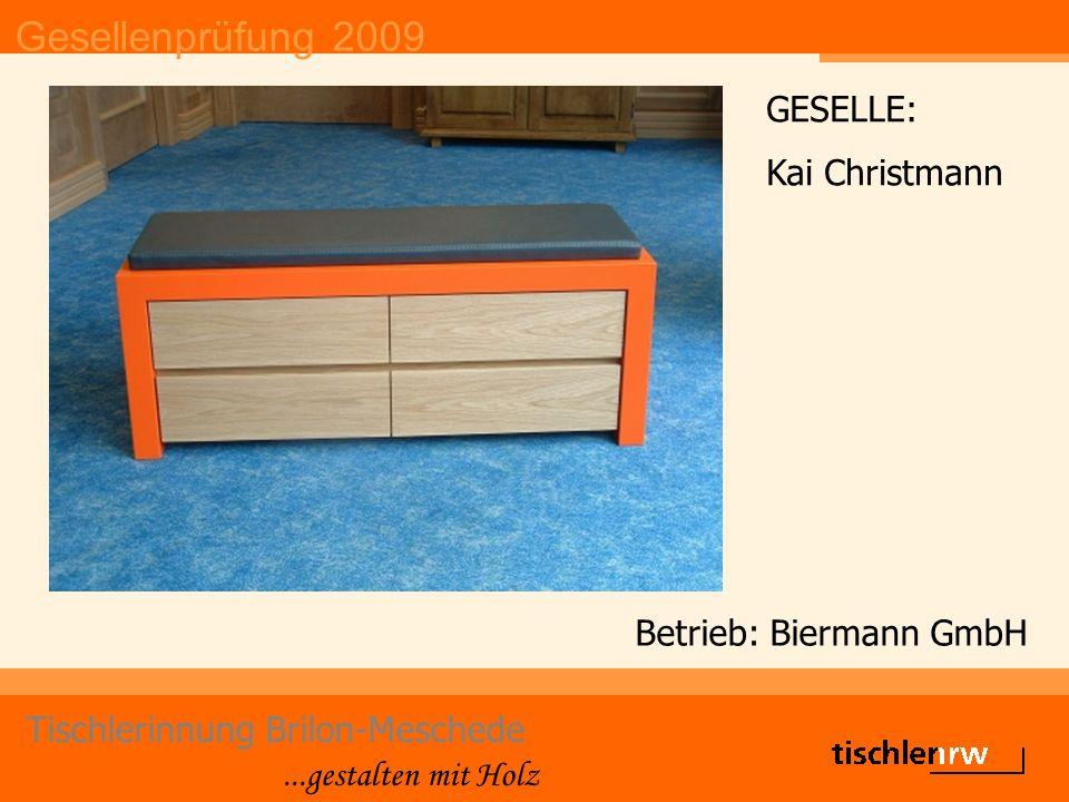 Gesellenprüfung 2009 Tischlerinnung Brilon-Meschede...gestalten mit Holz Betrieb: Günter Doeker KG GESELLE: Julian Dicke
