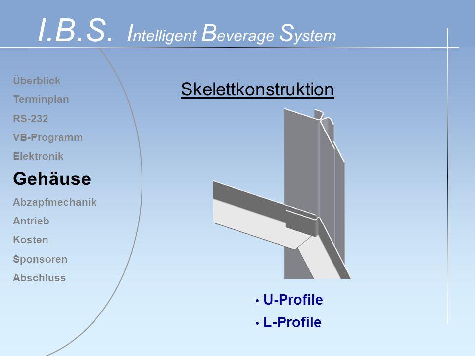 Überblick Terminplan RS-232 VB-Programm Elektronik Gehäuse Abzapfmechanik Antrieb Kosten Sponsoren Abschluss I.B.S. I ntelligent B everage S ystem U-P