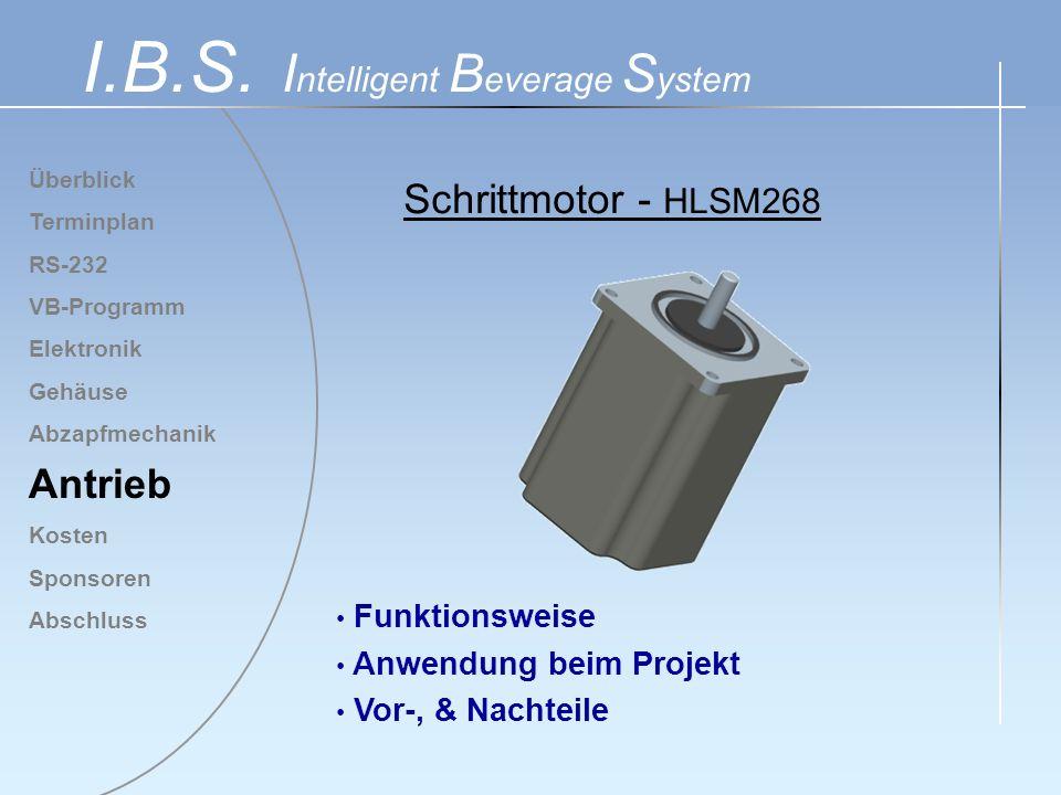 Überblick Terminplan RS-232 VB-Programm Elektronik Gehäuse Abzapfmechanik Antrieb Kosten Sponsoren Abschluss I.B.S. I ntelligent B everage S ystem Fun