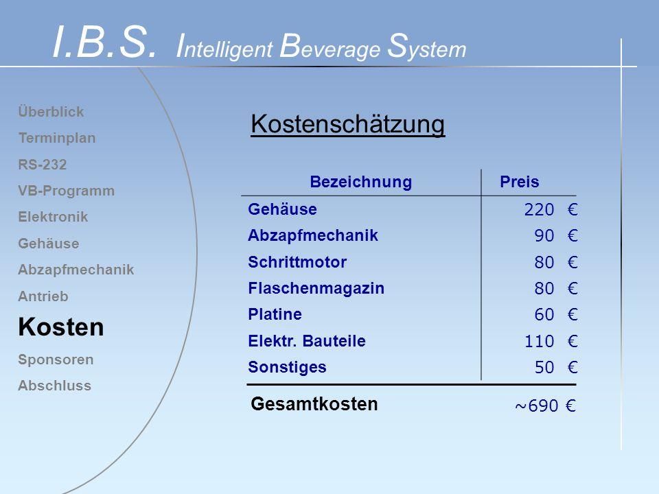 Überblick Terminplan RS-232 VB-Programm Elektronik Gehäuse Abzapfmechanik Antrieb Kosten Sponsoren Abschluss I.B.S. I ntelligent B everage S ystem Kos