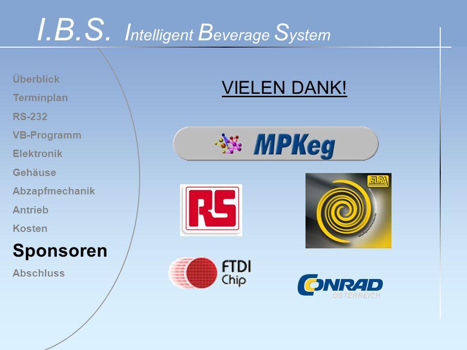 Überblick Terminplan RS-232 VB-Programm Elektronik Gehäuse Abzapfmechanik Antrieb Kosten Sponsoren Abschluss I.B.S. I ntelligent B everage S ystem VIE