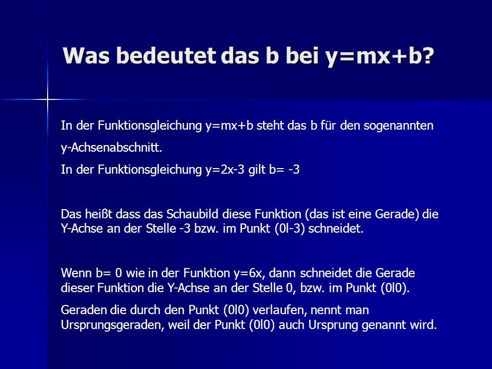 Was bedeutet das b bei y=mx+b? In der Funktionsgleichung y=mx+b steht das b für den sogenannten y-Achsenabschnitt. In der Funktionsgleichung y=2x-3 gi