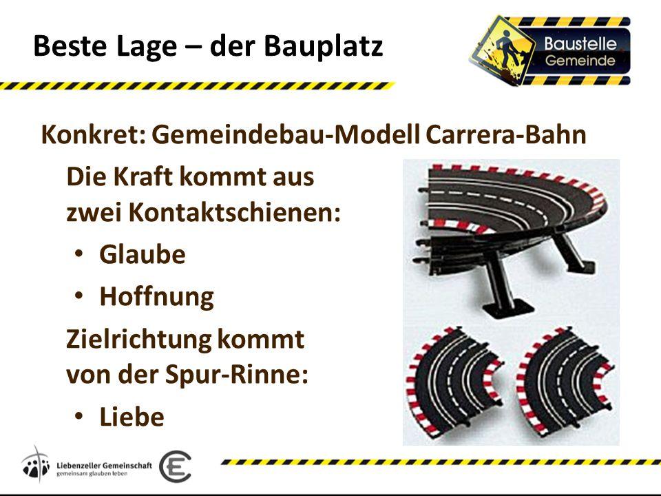 Beste Lage – der Bauplatz Konkret: Gemeindebau-Modell Carrera-Bahn Die Kraft kommt aus zwei Kontaktschienen: Glaube Hoffnung Zielrichtung kommt von de