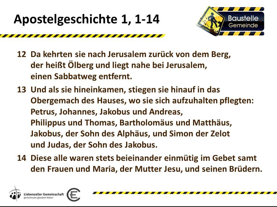 Apostelgeschichte 1, 1-14 12Da kehrten sie nach Jerusalem zurück von dem Berg, der heißt Ölberg und liegt nahe bei Jerusalem, einen Sabbatweg entfernt