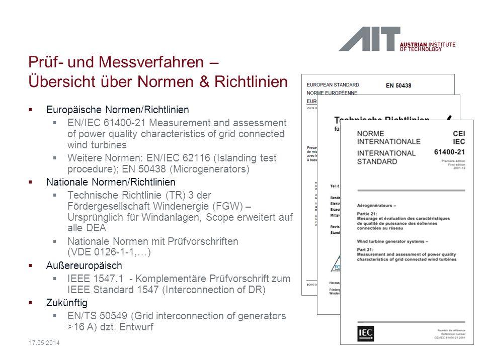 14 17.05.2014 Prüf- und Messverfahren – Übersicht über Normen & Richtlinien Europäische Normen/Richtlinien EN/IEC 61400-21 Measurement and assessment