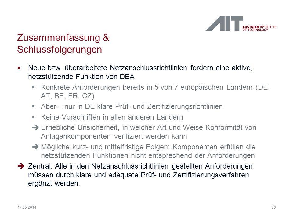 26 17.05.2014 Zusammenfassung & Schlussfolgerungen Neue bzw. überarbeitete Netzanschlussrichtlinien fordern eine aktive, netzstützende Funktion von DE