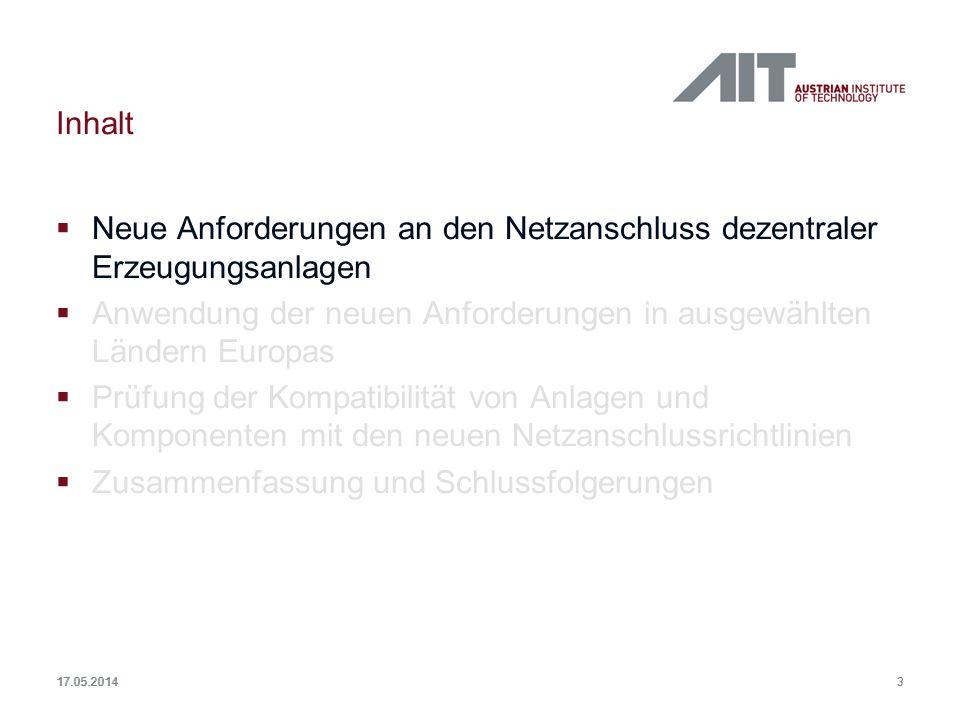 3 Inhalt Neue Anforderungen an den Netzanschluss dezentraler Erzeugungsanlagen Anwendung der neuen Anforderungen in ausgewählten Ländern Europas Prüfu