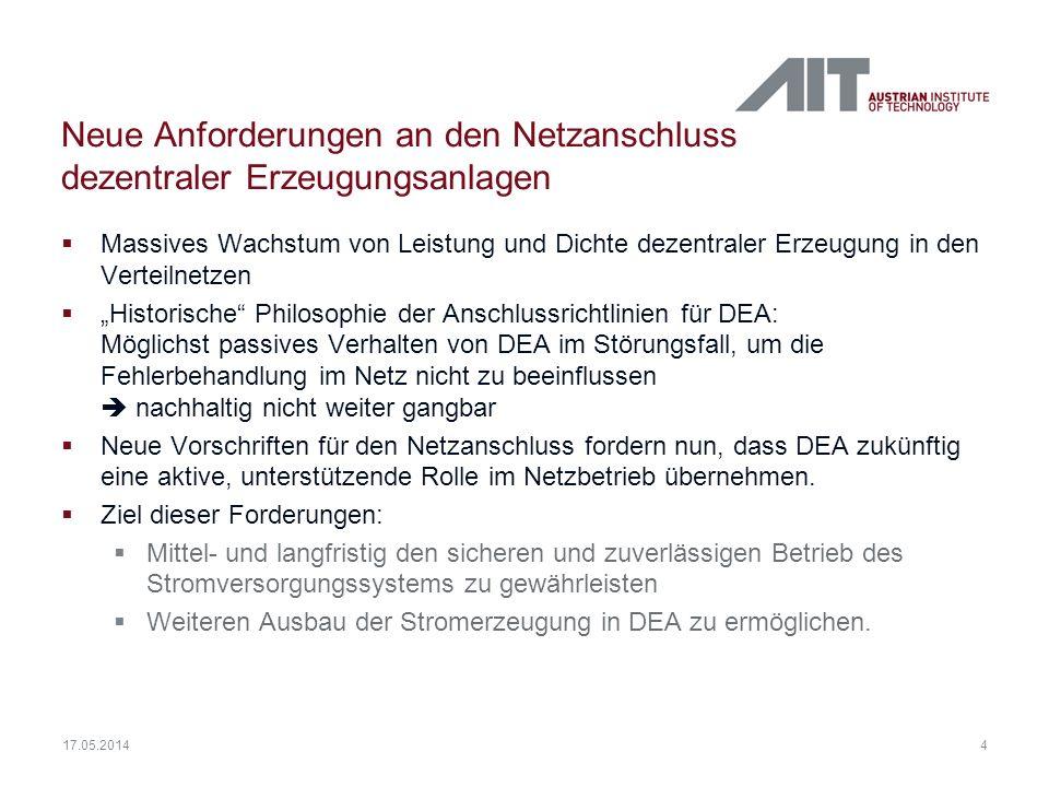 4 Neue Anforderungen an den Netzanschluss dezentraler Erzeugungsanlagen Massives Wachstum von Leistung und Dichte dezentraler Erzeugung in den Verteil