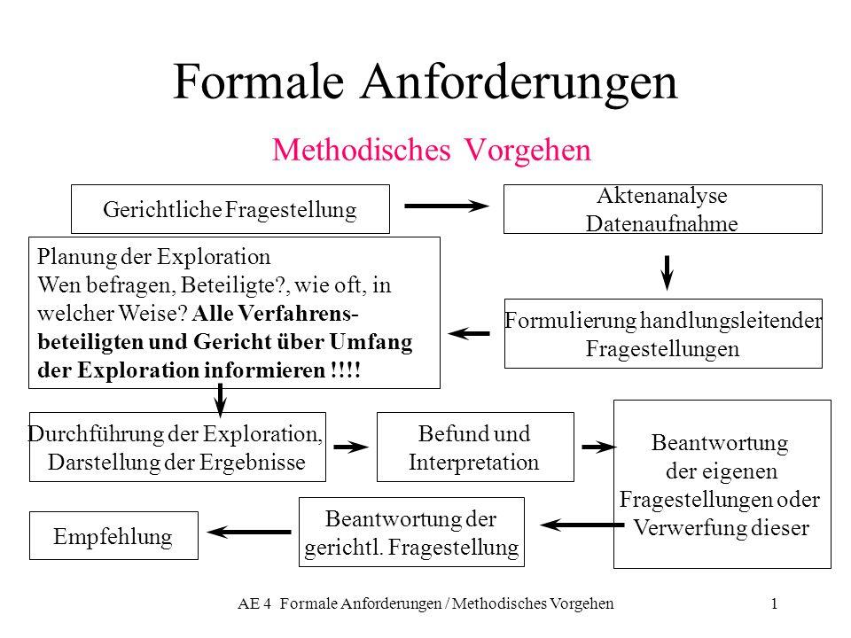 AE 4 Formale Anforderungen / Methodisches Vorgehen1 Formale Anforderungen Methodisches Vorgehen Gerichtliche Fragestellung Aktenanalyse Datenaufnahme