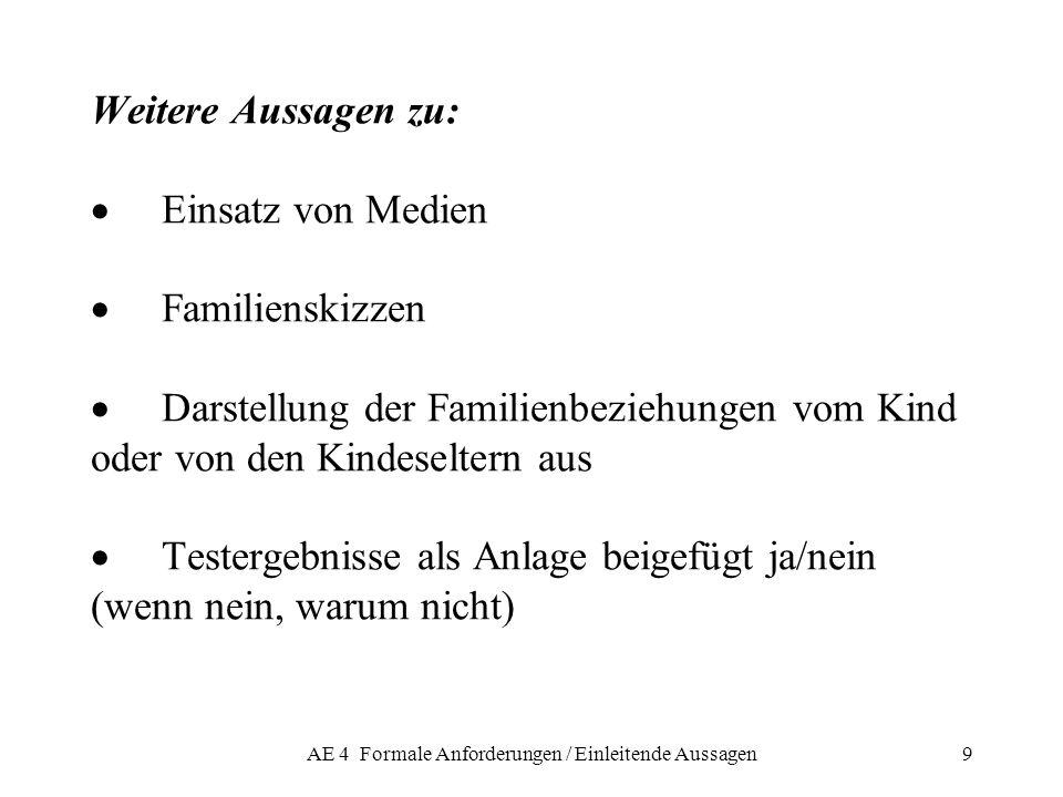 AE 4 Formale Anforderungen / Einleitende Aussagen9 Weitere Aussagen zu: Einsatz von Medien Familienskizzen Darstellung der Familienbeziehungen vom Kin