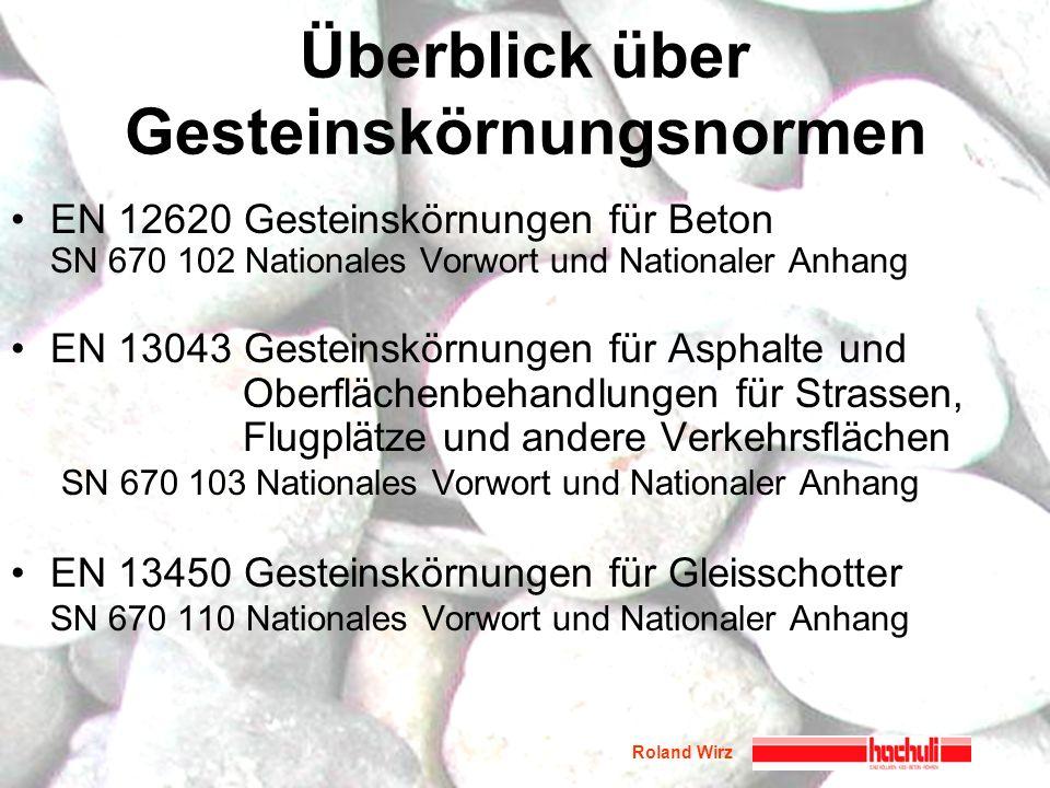 Roland Wirz Überblick über Gesteinskörnungsnormen EN 12620 Gesteinskörnungen für Beton SN 670 102 Nationales Vorwort und Nationaler Anhang EN 13043 Ge