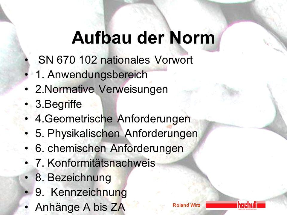 Roland Wirz Aufbau der Norm SN 670 102 nationales Vorwort 1. Anwendungsbereich 2.Normative Verweisungen 3.Begriffe 4.Geometrische Anforderungen 5. Phy