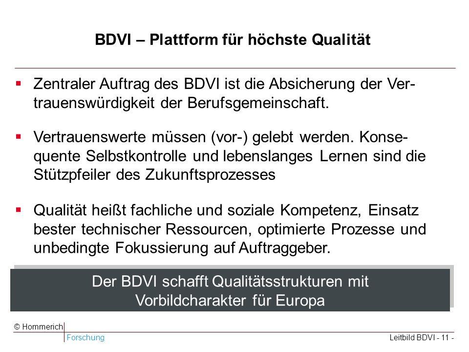 ForschungLeitbild BDVI - 11 - © Hommerich BDVI – Plattform für höchste Qualität Zentraler Auftrag des BDVI ist die Absicherung der Ver- trauenswürdigkeit der Berufsgemeinschaft.