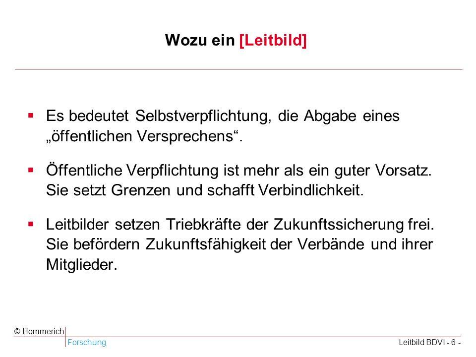 ForschungLeitbild BDVI - 6 - © Hommerich Wozu ein [Leitbild] Es bedeutet Selbstverpflichtung, die Abgabe eines öffentlichen Versprechens.