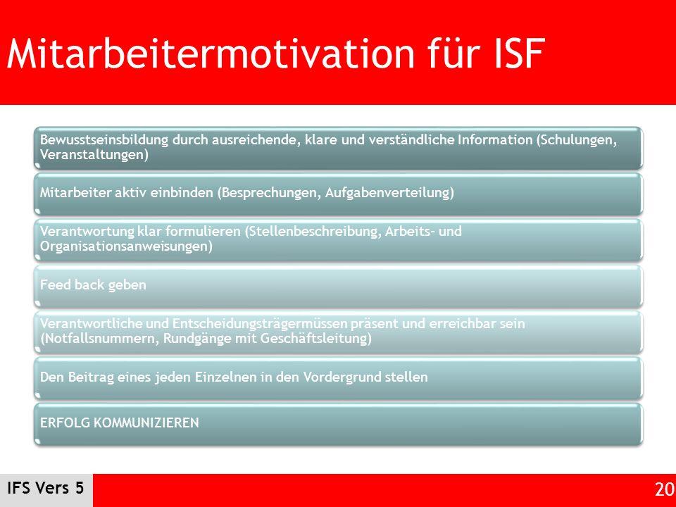 IFS Vers 5 20 Mitarbeitermotivation für ISF Bewusstseinsbildung durch ausreichende, klare und verständliche Information (Schulungen, Veranstaltungen)