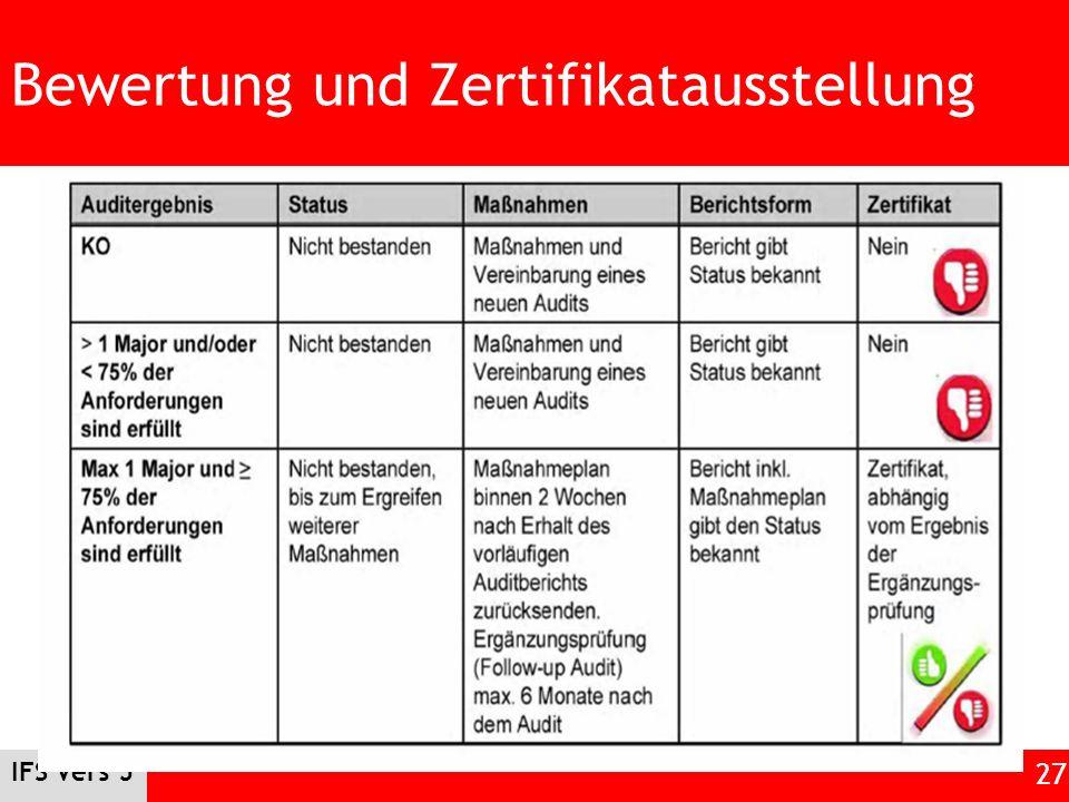 IFS Vers 5 27 Bewertung und Zertifikatausstellung