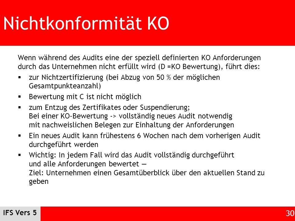 IFS Vers 5 30 Nichtkonformität KO Wenn während des Audits eine der speziell definierten KO Anforderungen durch das Unternehmen nicht erfüllt wird (D =