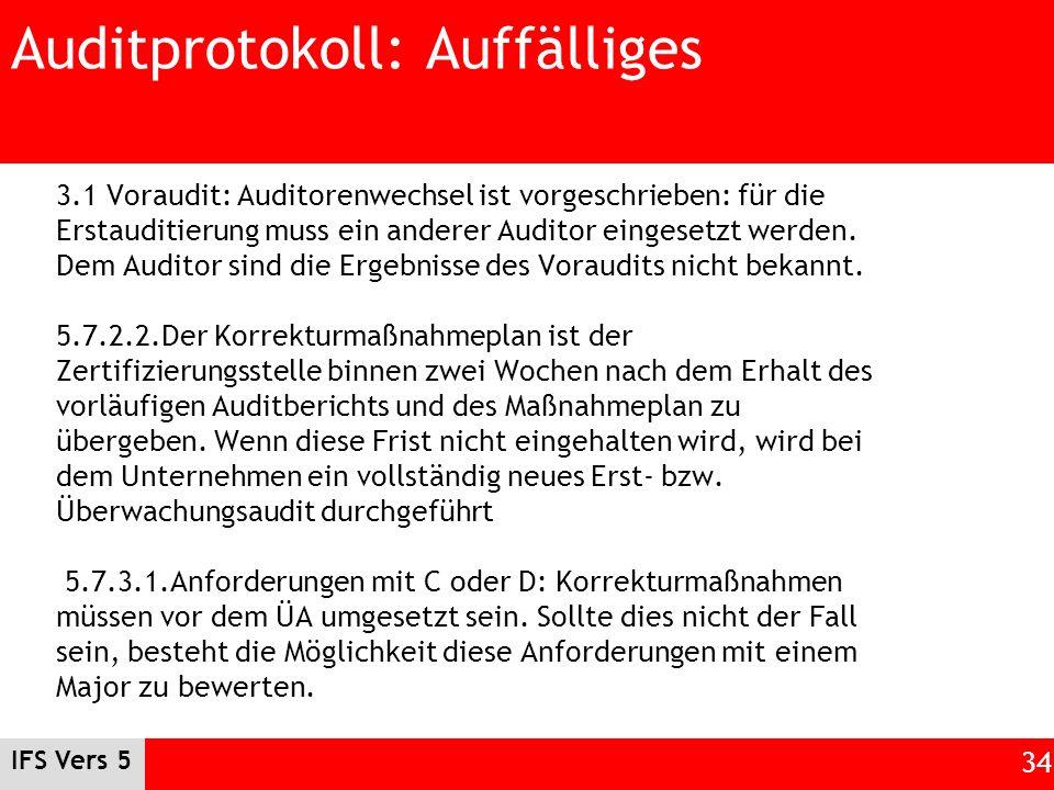 IFS Vers 5 34 Auditprotokoll: Auffälliges 3.1 Voraudit: Auditorenwechsel ist vorgeschrieben: für die Erstauditierung muss ein anderer Auditor eingeset