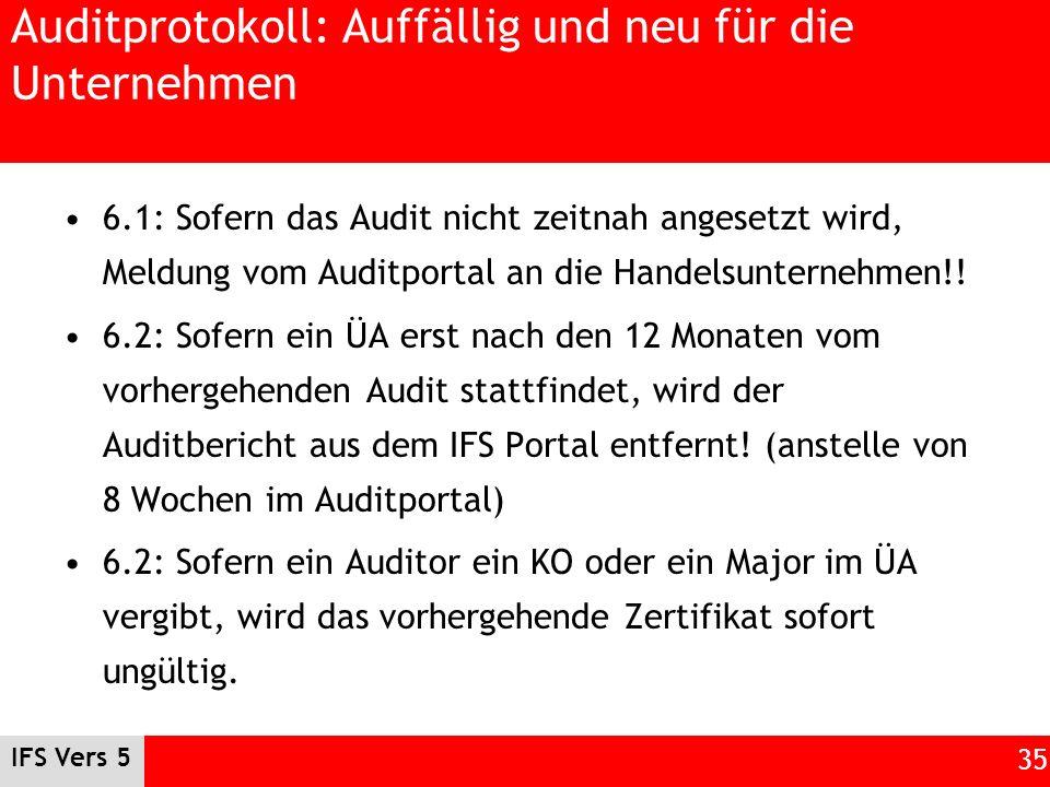 IFS Vers 5 35 Auditprotokoll: Auffällig und neu für die Unternehmen 6.1: Sofern das Audit nicht zeitnah angesetzt wird, Meldung vom Auditportal an die