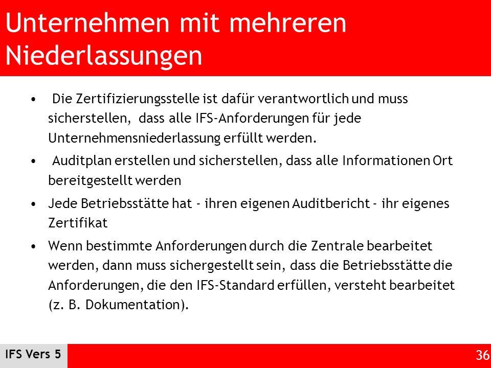 IFS Vers 5 36 Unternehmen mit mehreren Niederlassungen Die Zertifizierungsstelle ist dafür verantwortlich und muss sicherstellen, dass alle IFS-Anford