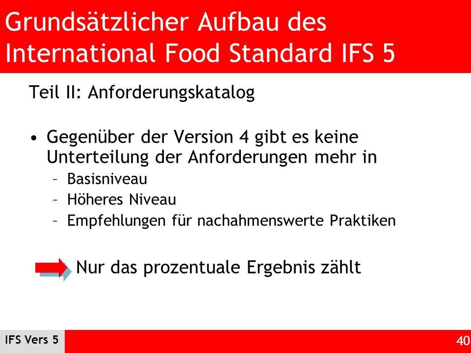 IFS Vers 5 40 Grundsätzlicher Aufbau des International Food Standard IFS 5 Teil II: Anforderungskatalog Gegenüber der Version 4 gibt es keine Untertei