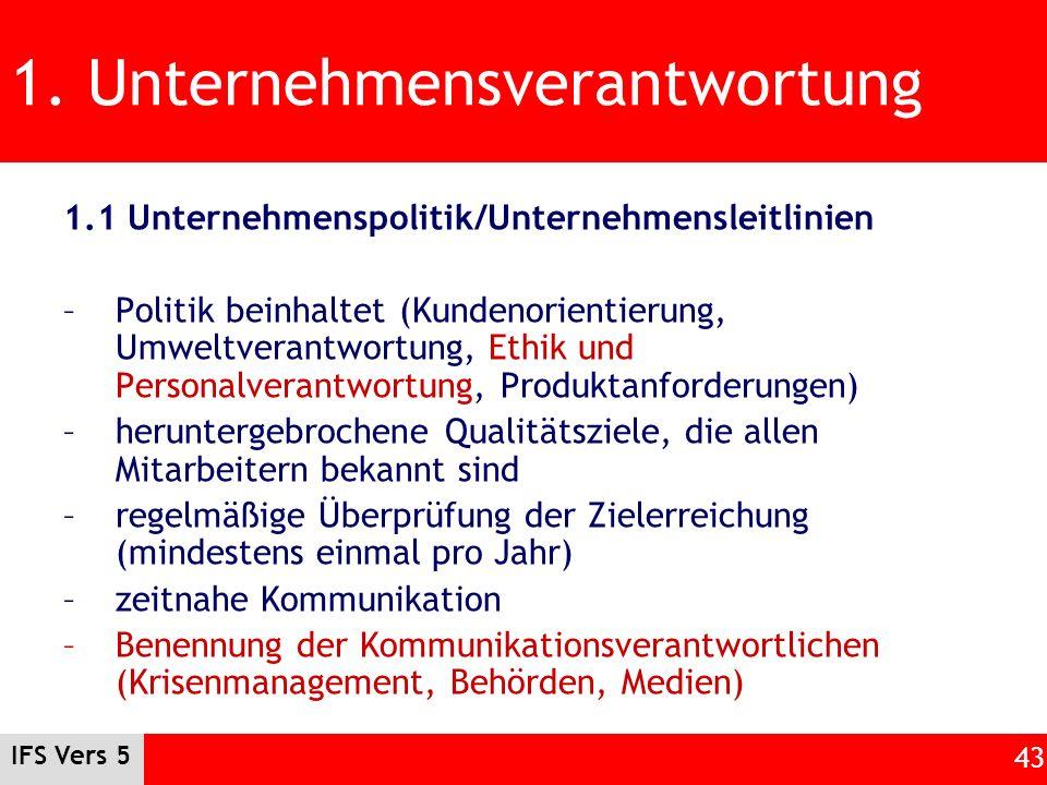 IFS Vers 5 43 1. Unternehmensverantwortung 1.1 Unternehmenspolitik/Unternehmensleitlinien –Politik beinhaltet (Kundenorientierung, Umweltverantwortung