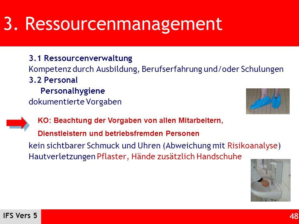 IFS Vers 5 48 3. Ressourcenmanagement 3.1 Ressourcenverwaltung Kompetenz durch Ausbildung, Berufserfahrung und/oder Schulungen 3.2 Personal Personalhy