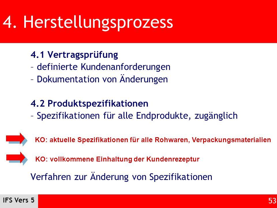 IFS Vers 5 53 4. Herstellungsprozess 4.1 Vertragsprüfung – definierte Kundenanforderungen – Dokumentation von Änderungen 4.2 Produktspezifikationen –