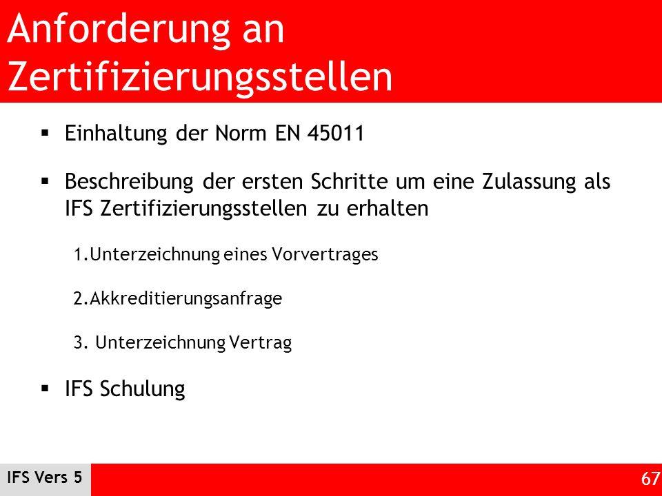 Anforderung an Zertifizierungsstellen Einhaltung der Norm EN 45011 Beschreibung der ersten Schritte um eine Zulassung als IFS Zertifizierungsstellen z