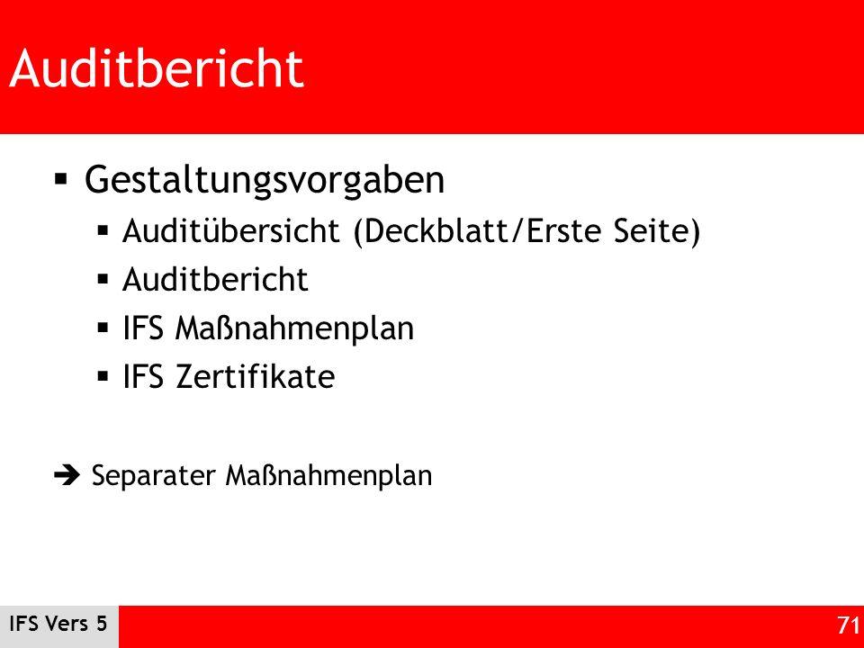 Auditbericht Gestaltungsvorgaben Auditübersicht (Deckblatt/Erste Seite) Auditbericht IFS Maßnahmenplan IFS Zertifikate Separater Maßnahmenplan IFS Ver