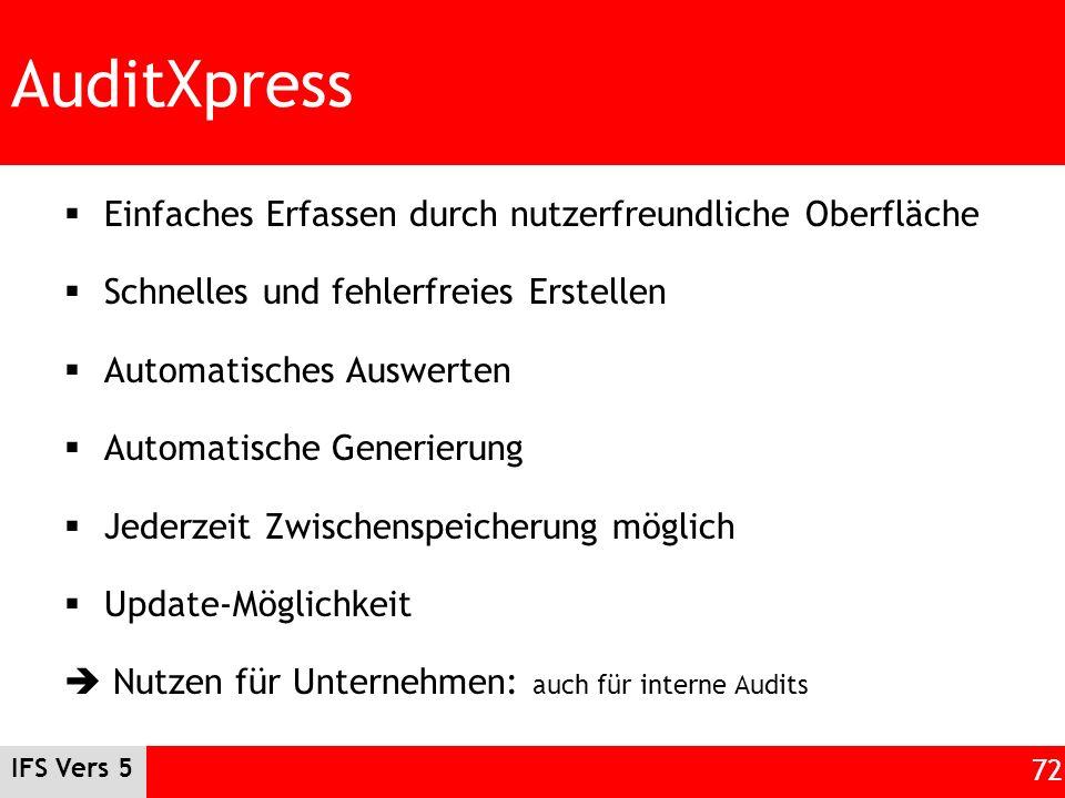 AuditXpress Einfaches Erfassen durch nutzerfreundliche Oberfläche Schnelles und fehlerfreies Erstellen Automatisches Auswerten Automatische Generierun