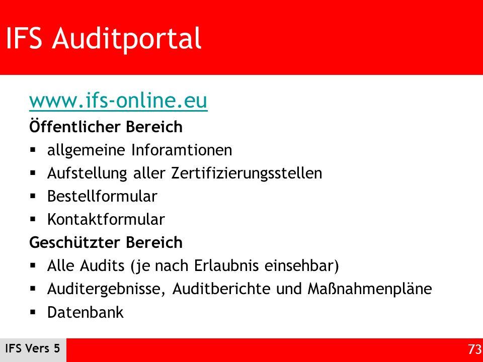 IFS Auditportal www.ifs-online.eu Öffentlicher Bereich allgemeine Inforamtionen Aufstellung aller Zertifizierungsstellen Bestellformular Kontaktformul