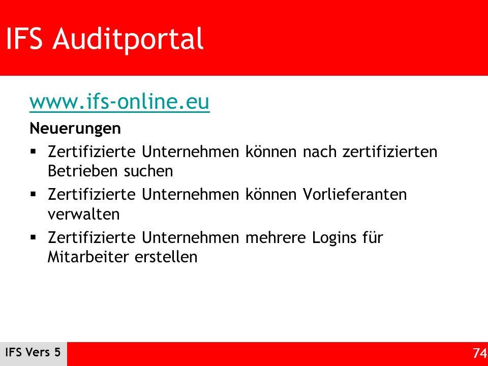 IFS Auditportal www.ifs-online.eu Neuerungen Zertifizierte Unternehmen können nach zertifizierten Betrieben suchen Zertifizierte Unternehmen können Vo