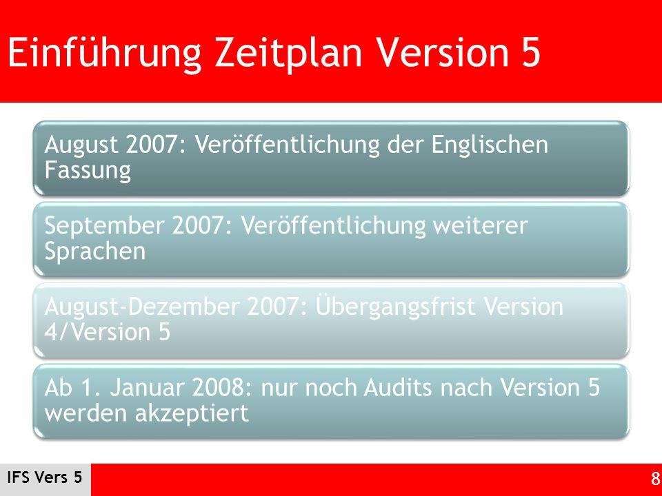 IFS Vers 5 8 Einführung Zeitplan Version 5 August 2007: Veröffentlichung der Englischen Fassung September 2007: Veröffentlichung weiterer Sprachen Aug