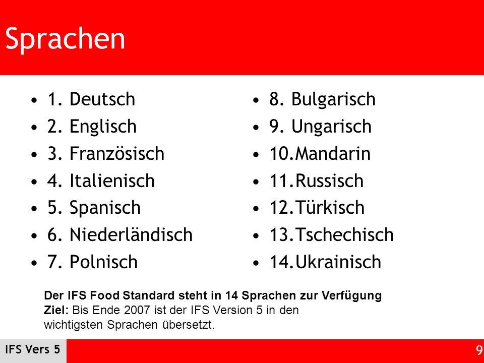 IFS Vers 5 9 Sprachen 1. Deutsch 2. Englisch 3. Französisch 4. Italienisch 5. Spanisch 6. Niederländisch 7. Polnisch 8. Bulgarisch 9. Ungarisch 10.Man