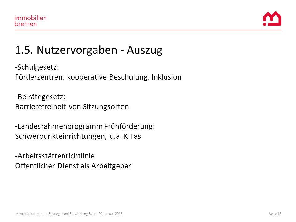immobilien bremen | Strategie und Entwicklung Bau | 09. Januar 2013Seite 13 1.5. Nutzervorgaben - Auszug -Schulgesetz: Förderzentren, kooperative Besc