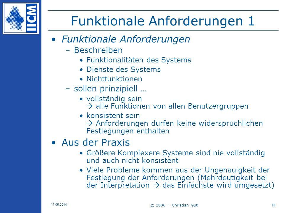 © 2006 - Christian Gütl 17.05.2014 11 Funktionale Anforderungen 1 Funktionale Anforderungen –Beschreiben Funktionalitäten des Systems Dienste des Syst