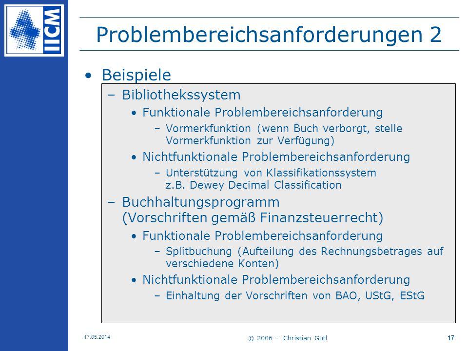© 2006 - Christian Gütl 17.05.2014 17 Problembereichsanforderungen 2 Beispiele –Bibliothekssystem Funktionale Problembereichsanforderung –Vormerkfunkt