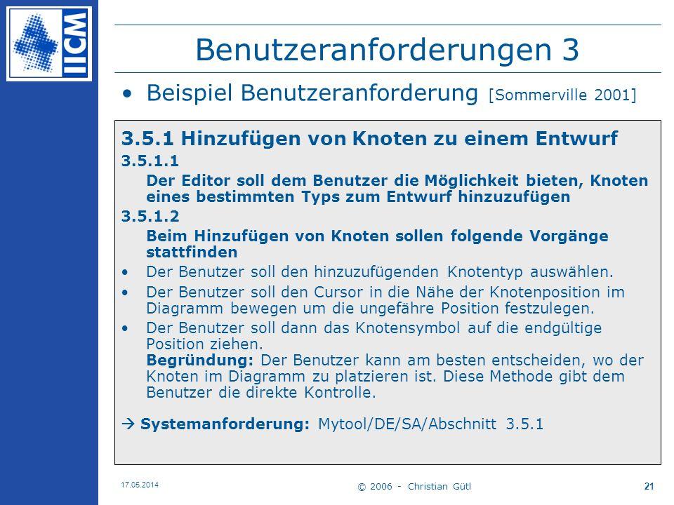 © 2006 - Christian Gütl 17.05.2014 21 Benutzeranforderungen 3 Beispiel Benutzeranforderung [Sommerville 2001] 3.5.1 Hinzufügen von Knoten zu einem Ent