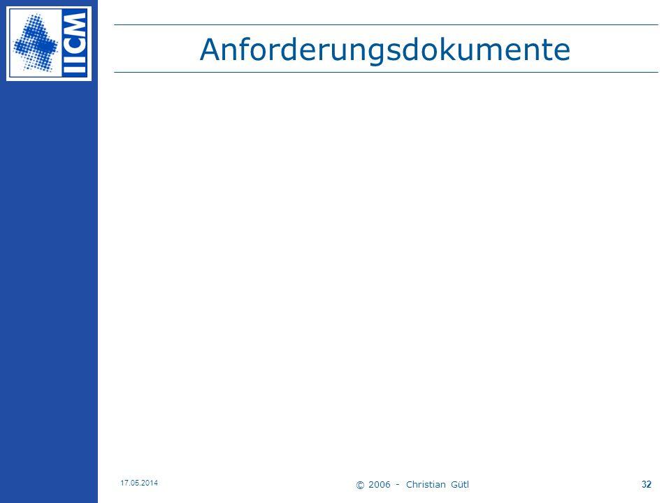 © 2006 - Christian Gütl 17.05.2014 32 Anforderungsdokumente